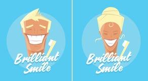 Плакат с усмехаться человека и женщины Белая здоровая реклама зубов, зубной щетки или зубной пасты ретро тип Denist Стоковые Фото
