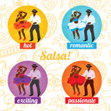 Плакат танцев сальсы для партии Кубинськие пары, ладони, музыкальные инструменты Стоковое Фото