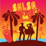 Плакат танцев сальсы для партии Кубинськие пары Стоковое Изображение