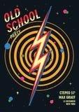 Плакат танцев старой школы в ретро дизайне также вектор иллюстрации притяжки corel Стоковое Фото