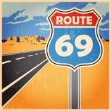 Плакат трассы старый Стоковое Изображение RF