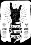 Плакат фестиваля утеса Знак руки рок-н-ролл Стоковые Фотографии RF
