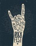 Плакат фестиваля утеса, рогулька Стоковое Фото