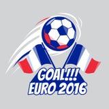 Плакат футбола с шариком ЕВРО Франция 2016 Брошюра вектора для игры спорта Чемпионат, лига Турнир футбола Стоковая Фотография RF