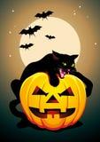 Плакат хеллоуина вектора с черным котом Стоковые Изображения