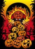 Плакат хеллоуина с Джеком и тыквами Стоковые Изображения RF