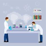 Плакат химического исследования науки лаборатории плоский иллюстрация штока