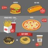 Плакат цены фаст-фуда установленный Стоковое Изображение