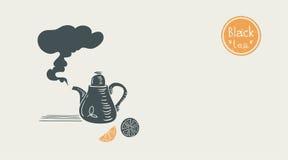 Плакат черного чая Стоковое Изображение