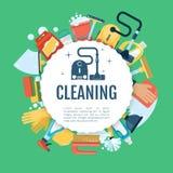Плакат чистки дома Шаблон обслуживаний вектора домашний с домочадцем поставляет значки иллюстрация вектора