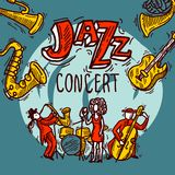 Плакат эскиза джаза Стоковое фото RF