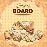 Плакат эскиза сыра Стоковые Изображения RF