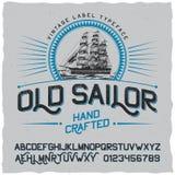 Плакат ярлыка старого матроса винтажный Стоковое фото RF