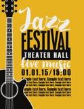 Плакат для джазового фестиваля с гитарой бесплатная иллюстрация