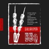 Плакат BBQ стилизованный как чертеж эскиза на Стоковые Фотографии RF