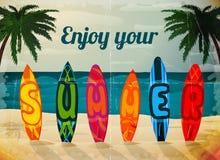 Плакат surfboard летних каникулов иллюстрация вектора