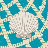 Плакат Vitage с Seashell, жемчугами и сетью иллюстрация вектора