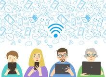 Плакат Wi-Fi с peole Стоковое фото RF