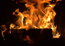 Пламена в камине Стоковая Фотография RF