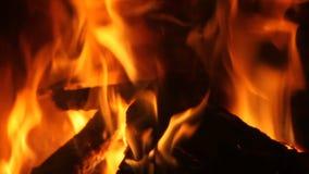 Пламена камина сток-видео