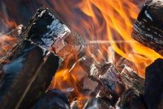 Пламена конца лагерного костера вверх Стоковые Изображения