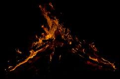 Пламена на черной предпосылке Стоковая Фотография RF
