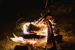 Пламена огня светов в ноче Стоковые Фотографии RF