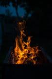 Пламена пожара на черной предпосылке Стоковая Фотография