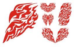 Пламенеющая голова орла и племенные элементы орла Стоковые Изображения