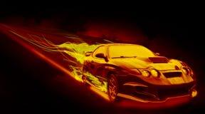 Пламенистый автомобиль Стоковое Изображение RF