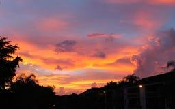 Пламенистый городской заход солнца Стоковое Фото