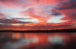Пламенистый залив Сан-Диего Калифорния полета захода солнца Стоковые Изображения