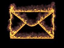 Пламенистый значок почты с дымом 3d представляют Иллюстрация цифров Стоковая Фотография
