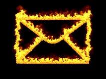 Пламенистый значок почты 3d представляют Иллюстрация цифров Стоковые Фотографии RF