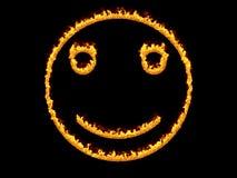 Пламенистый значок smiley 3d представляют Иллюстрация цифров Стоковое Изображение