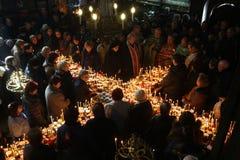 Пламенистый крест с опарниками меда Стоковая Фотография