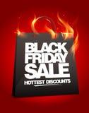 Пламенистый черный дизайн продажи пятницы. Стоковое Изображение