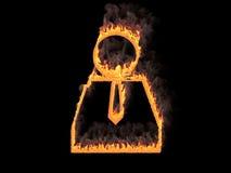 Пламенистый человеческий значок с галстуком 3d представляют Иллюстрация цифров Стоковое Изображение