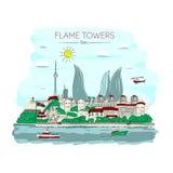 Пламя возвышается Баку иллюстрация вектора