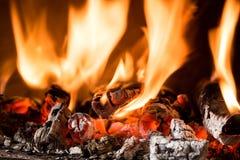 Пламя в камине Стоковая Фотография