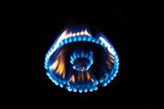 Пламя горя на газовой плите Стоковая Фотография