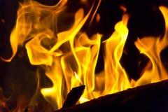 Пламя красного огня на черной предпосылке Стоковая Фотография