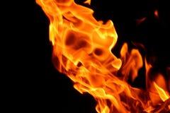 Пламя огня на черной предпосылке Стоковое Изображение