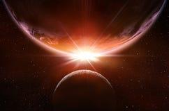 Планетарное затмение в космосе Стоковое Фото