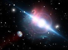 Планета двигает по орбите пульсар в опасной зоне Стоковое фото RF