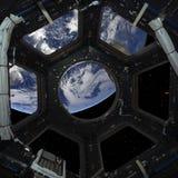 Планета земли в иллюминаторе окна космического корабля иллюстрация штока