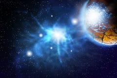 Планета земли в лучах солнца Стоковые Фотографии RF