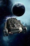 Планета и межзвёздное облако космического корабля Стоковое Фото