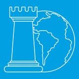 Планета и шахмат мира rook значок, стиль плана Стоковое фото RF