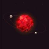 Планета Марса солнечной системы Марс с 2 естественными лунами - Phobos и Deimos Космическое пространство планеты с орбиталью Стоковые Изображения
